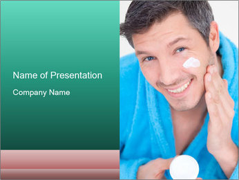 Man putting cream PowerPoint Template - Slide 1