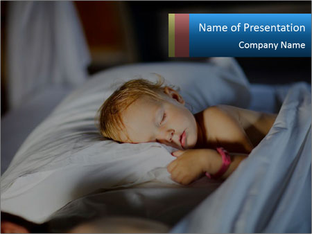 Adorable toddler girl in bedroom at the morning PowerPoint Template
