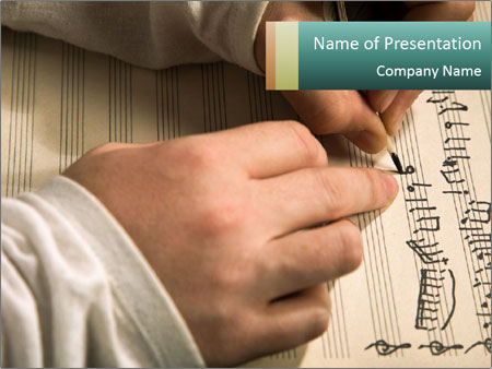 The hand writes musical PowerPoint Template