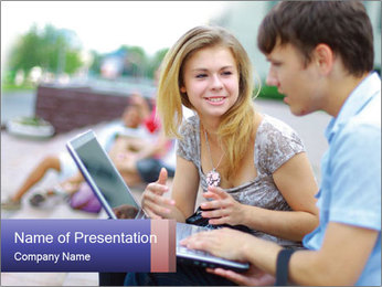 Friends using laptop PowerPoint Template
