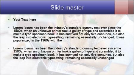 Friends using laptop PowerPoint Template - Slide 2