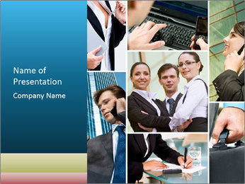 Collage with business team PowerPoint Template