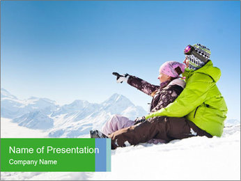 Couple in snowy PowerPoint Template - Slide 1