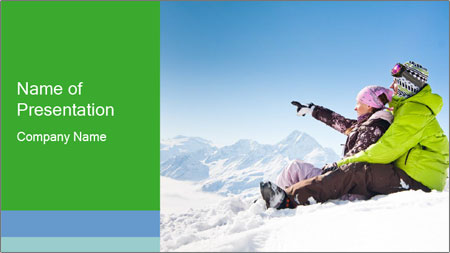 Couple in snowy PowerPoint Template