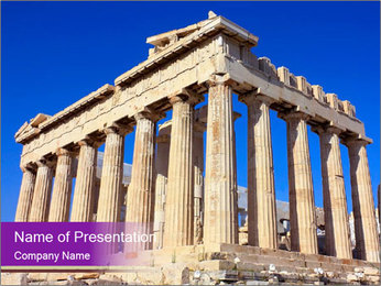 Facade of ancient temple PowerPoint Template - Slide 1