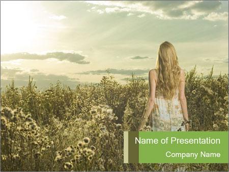 Girl in field PowerPoint Template