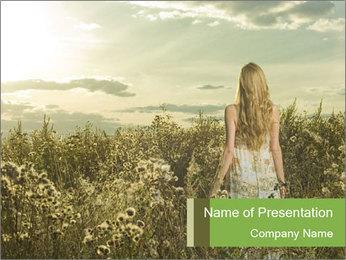Girl in field PowerPoint Template - Slide 1