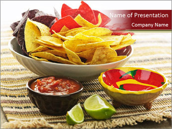 Bowl of salsa PowerPoint Template - Slide 1