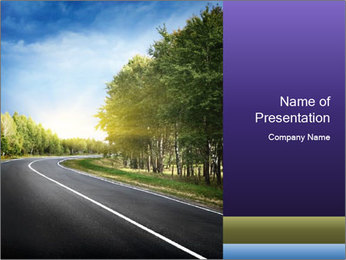 Empty curved road PowerPoint Template