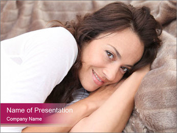 Woman laying PowerPoint Template - Slide 1