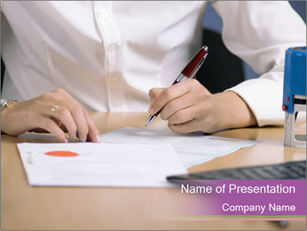 Businesswoman signing document PowerPoint Template - Slide 1
