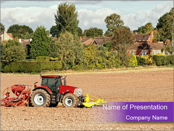 Tractor planting PowerPoint Template