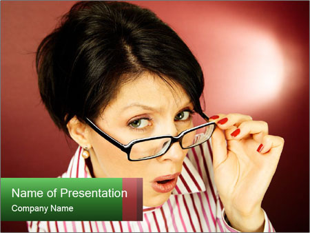 Nerdy office woman PowerPoint Templates