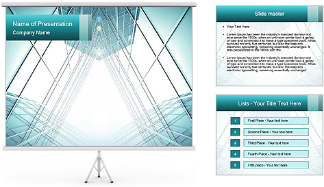 Corridor of glass PowerPoint Template