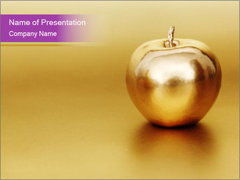 Gold apple PowerPoint Template - Slide 1