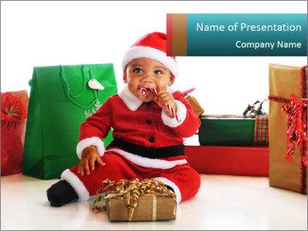 Baby Santa PowerPoint Template - Slide 1