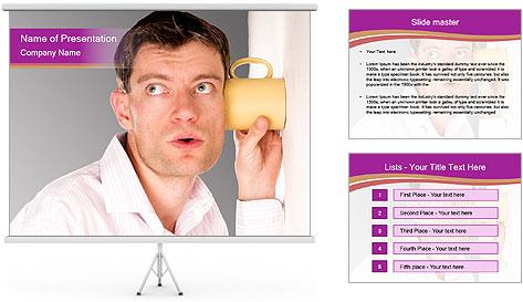 Man listening PowerPoint Template
