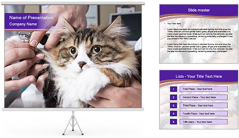 Trimming cat's PowerPoint Template