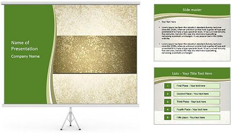 Elegant textured gold ribbon stripe PowerPoint Template