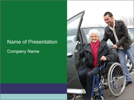 Man assisting senior woman PowerPoint Templates