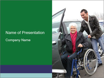 Man assisting senior woman PowerPoint Template
