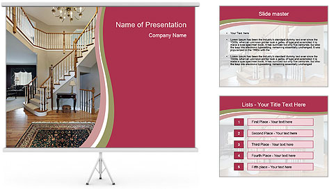 Foyer with wood trim PowerPoint Template