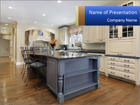 Kitchen in luxury home PowerPoint Templates