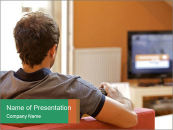 Man watching television PowerPoint Template - Slide 1