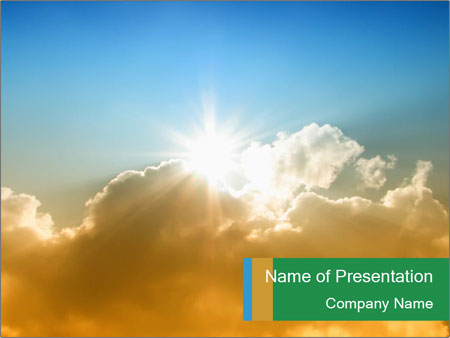 The sun and gold clouds PowerPoint Template