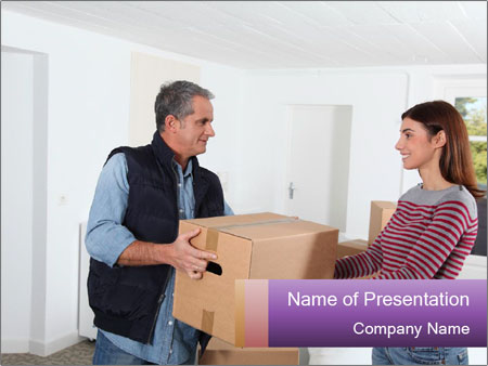 Holding boxes PowerPoint Template