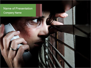 Fearful battered woman PowerPoint Template