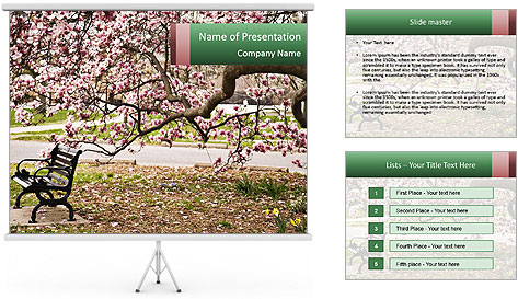 Park bench PowerPoint Template
