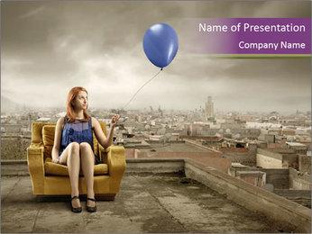 Woman sitting PowerPoint Template - Slide 1
