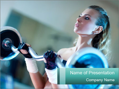 Training young woman PowerPoint Template