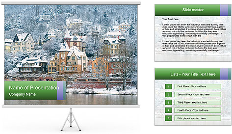 Traditional mansions PowerPoint Template