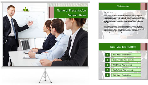 Three businesspeople PowerPoint Template