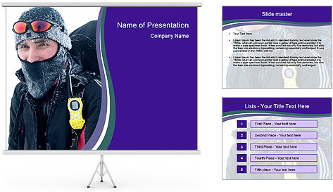 Hiker at the mountains PowerPoint Template