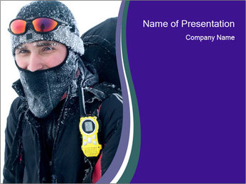 Hiker at the mountains PowerPoint Template - Slide 1