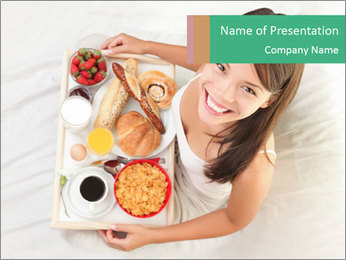 Woman having breakfast PowerPoint Template