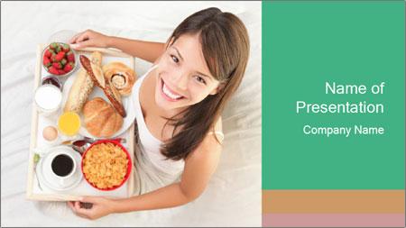 Woman having breakfast PowerPoint Template