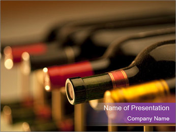 Red wine bottles PowerPoint Template