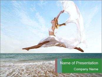 Woman jumping PowerPoint Templates - Slide 1