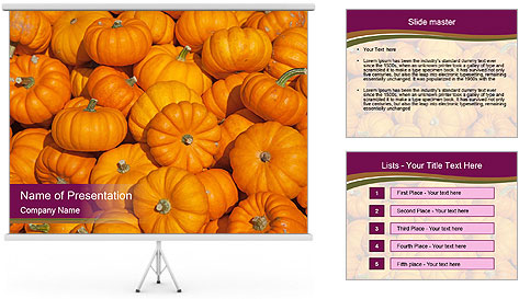 Colorful pumpkins PowerPoint Template