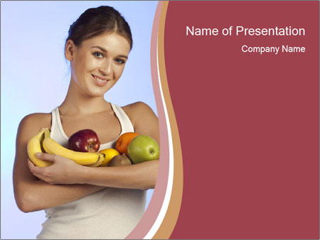 Brunette is holding fruit PowerPoint Templates