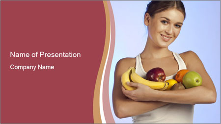 Brunette is holding fruit PowerPoint Template