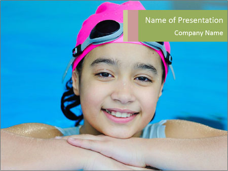 Girl  in the pool PowerPoint Templates