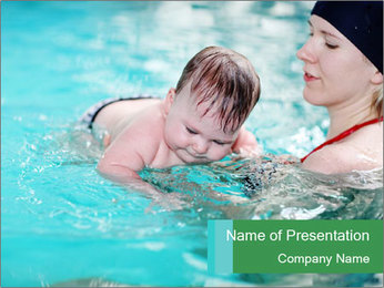 Teaching baby to swim PowerPoint Templates - Slide 1