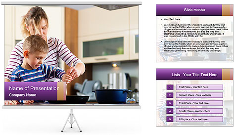 Mam Cooking With Son PowerPoint Template