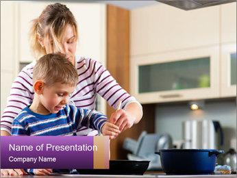 Mam Cooking With Son PowerPoint Template - Slide 1