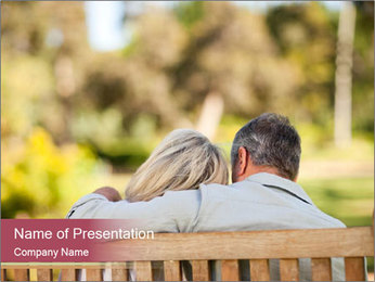 Retired Couple Sitting On Bench PowerPoint Template